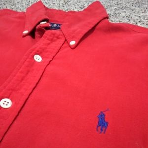 Ralph Lauren Men's Red Button Front Shirt Large